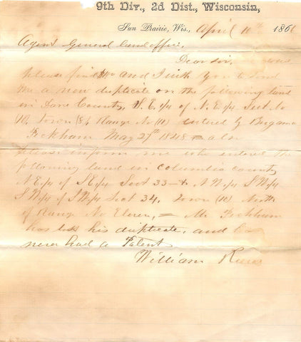 WILLIAM REEVE 9th WISCONSIN INFANTRY AUTOGRAPH SIGNED CIVIL WAR DOCUMENT 1861 - K-townConsignments