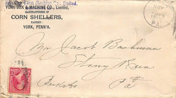 YORK PABOX & MACHINE COMPANY CORN SHELLERS ANTIQUE ADVERTISING POSTAL MAIL COVER - K-townConsignments