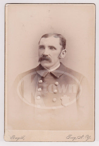 TROY NEW YORK POLICE OFFICER IN UNIFORM ANTIQUE CABINET PHOTO BY ZEPH MAGILL - K-townConsignments