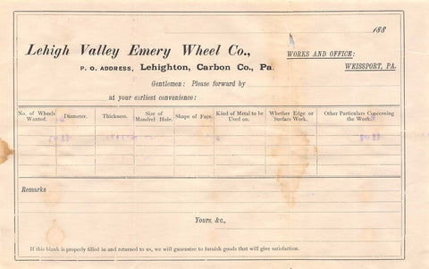 EMERY WHEEL COMPANY LEHIGH VALLEY PENNSYLVANIA ANTIQUE ADVERTISING SALES RECEIPT - K-townConsignments