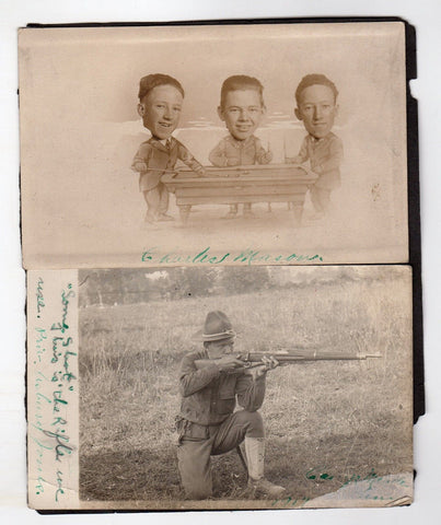 WWI SHARP SHOOTER & GOLD STAR MOTHER ANTIQUE IDed SNAPSHOT PHOTOS LOT - K-townConsignments