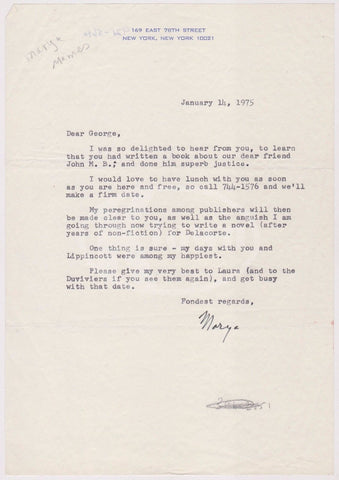 MARYA MANNES FEMINIST AUTHOR VOGUE MAGAZINE EDITOR AUTOGRAPH SIGNED LETTERHEAD - K-townConsignments