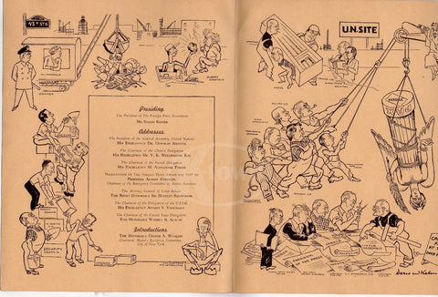 FOREIGN PRESS ASSOCIATION UNITED NATIONS SECURITY COUNCIL VINTAGE DINNER MENU - K-townConsignments
