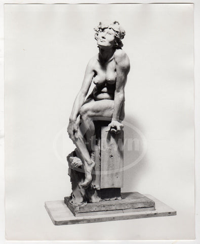 ARNOLD GOLDSTEIN ARTIST SEATED NUDE WOMAN SCULPTURE VINTAGE ART PHOTO PRINTS - K-townConsignments