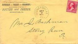 MONOCACY VALLEY CREAMERY STONERSVILLE PA ANTIQUE ADVERTISING POSTAL MAIL COVER - K-townConsignments