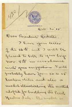 ADMIRAL STANFORD BUILDS PEARL HARBOR DOCKS ANTIQUE AUTOGRAPH SIGNED LETTER 1915 - K-townConsignments