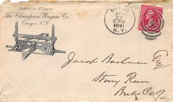 CHAMPION WAGON COMPANY OWEGO NEW YORK ANTIQUE ADVERTISING POSTED MAIL COVER 1891 - K-townConsignments