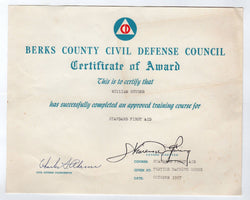 BERKS COUNTY PA CIVIL DEFENSE COUNCIL COLD WAR FIRST AID AWARD CERTIFICATE 1957 - K-townConsignments