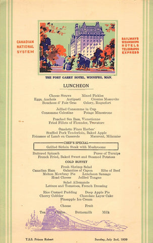 TSS PRINCE ROBERT CANADIAN STEAMSHIPS FORT GARRY HOTEL ANTIQUE LUNCH MENU 1939 - K-townConsignments