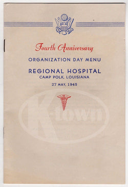 CAMP POLK LOUISIANA VINTAGE WWII 4th ANNIVERSARY ORGANIZATION DAY MENU PROGRAM - K-townConsignments