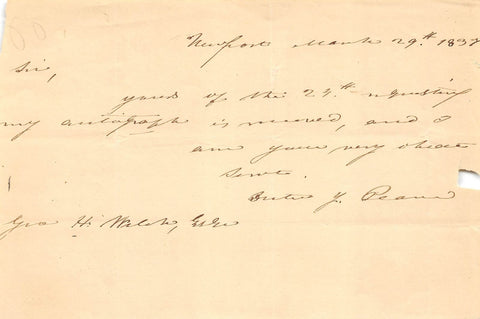 DUTEE PEARCE RHODE ISLAND CONGRESS POLITICIAN AUTOGRAPH SIGNED LETTER 1837 - K-townConsignments