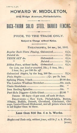 HOWARD MIDDLETON MINING & RAILROAD TOOLS ANTIQUE SALES PRICE LIST ADVERTISING - K-townConsignments