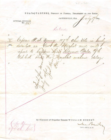 WILLIAM BIRNEY CIVIL WAR GENERAL ANTIQUE HANDWRITTEN FLORIDA MILITARY DOCUMENT - K-townConsignments