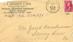 EMMERT & SON HARDWARE & COAL HAGERSTOWN MD ANTIQUE ADVERTISING POSTAL MAIL COVER - K-townConsignments