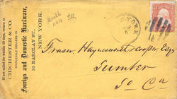 CHICESTER HARDWARE STORE NEW YORK ANTIQUE CANCEL STAMPED POSTAL MAIL COVER 1863 - K-townConsignments