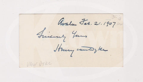 HENRY VAN DYKE NETHERLANDS MINISTER POLITICIAN ANTIQUE AUTOGRAPH SIGNED CARD - K-townConsignments