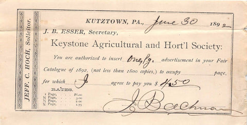 KEYSTONE AGRICULTURAL HORTICULTURAL SOCIETY KUTZTOWN PA ANTIQUE ADVERTISING 1892 - K-townConsignments
