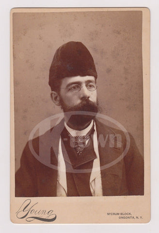 P.R. YOUNG CABINET CARD PHOTOGRAPHER ONEONTA NEW YORK SELF PORTRAIT PHOTOGRAPH - K-townConsignments