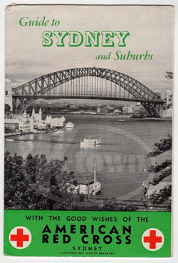WWII AMERICAN RED CROSS GUIDE TO SYDNEY AUSTRALIA VINTAGE TRAVEL ADVERTISING - K-townConsignments