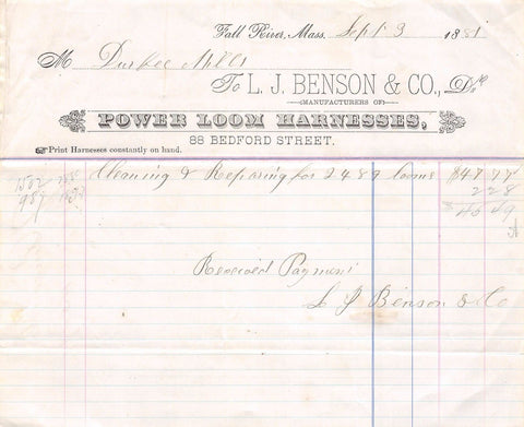 BENSON POWER LOOM HARNESSES FALL RIVER MASS ANTIQUE ADVERTISING SALES RECEIPT - K-townConsignments