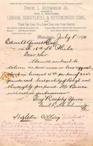 HUTCHINSON PENNSYLVANIA BITUMINOUS COAL ANTIQUE AUTOGRAPH SIGNED LETTERHEAD 1890 - K-townConsignments