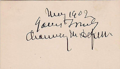 CHAUNCEY DEPEW NY SENATE RAIL ROAD AUTOGRAPH SIGNATURE - K-townConsignments