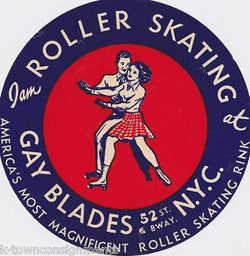 GAY BLADES INC. VINTAGE ROLLER SKATING GRAPHIC AD LABEL - K-townConsignments