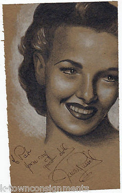 JANE RUSSELL HOLLYWOOD MOVIE ACTRESS AUTOGRAPH SIGNED ARTWORK BY PIN-UP ARTIST - K-townConsignments