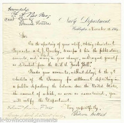 GIDEON WELLES CIVIL WAR SECRETARY OF NAVY ANTIQUE AUTOGRAPH SIGNED LETTER 1864 - K-townConsignments