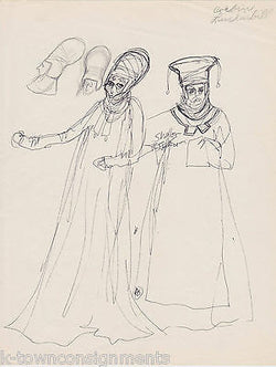 HAL GEORGE THEATRE COSTUME DESIGNER VINTAGE AUTOGRAPH SIGNED ORIGINAL SKETCHES - K-townConsignments