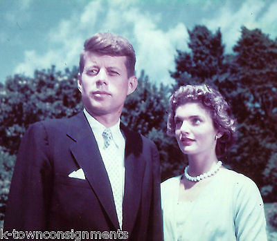 JOHN & JACKIE KENNEDY EARLY VINTAGE COLOR NEWS ARCHIVE REVERSE PRINT PRESS PHOTO - K-townConsignments
