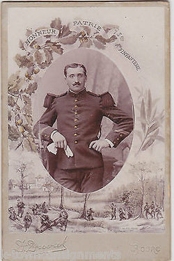 BERGERET PIERRE FRENCH MILITARY ANTIQUE CABINET CARD PHOTOGRAPH BY D. DUVAL 1918 - K-townConsignments