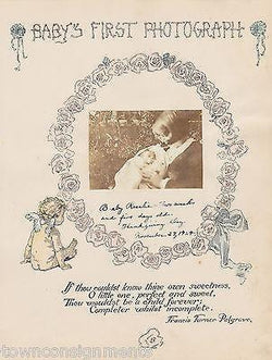 Baby's First Photograph Cherub Antique Graphic Illlustration Nursery Print - K-townConsignments
