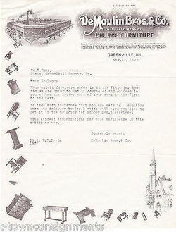 DE MOULIN BROS & CO CHURCH FURNITURE ANTIQUE ENGRAVING STATIONERY 1927 - K-townConsignments