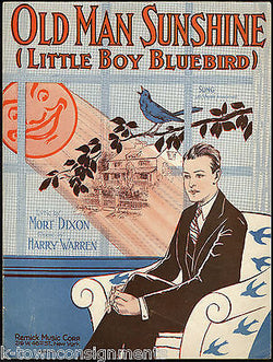 OLD MAN SUNSHINE (LITTLE BOY BLUEBIRD) 1920s SHEET MUSIC MORT DIXON HARRY WARREN - K-townConsignments
