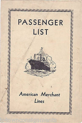 AMERICAN MERCHANT LINES SS AMERICAN BANKER VINTAGE 1930s SHIP PASSENGER LIST - K-townConsignments