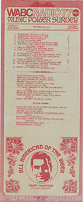 ROD STEWART HARRY HARRISON WABC RADIO MUSIC POWER SURVEY TRIDENT PROMO FLYER - K-townConsignments