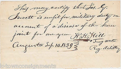 SEMINOLE WAR AUGUSTA GEORGIA SIGNED UNFIT FOR DUTY MILITARY DOCUMENT 1839 - K-townConsignments
