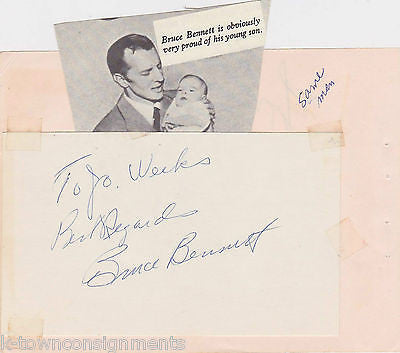 BRUCE BENNETT EARLY MOVIE ACTOR VINTAGE AUTOGRAPH SIGNED ALBUM PAGE & CLIPPING - K-townConsignments