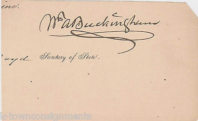 WILLIAM ALFRED BUCKINGHAM SENATE AUTOGRAPH SIGNATURE - K-townConsignments