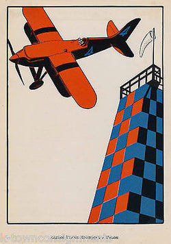 AIRPLANE RACE FLYING AROUND PYLON VINTAGE 1920s VIBRANT GRAPHIC ART PRINT - K-townConsignments