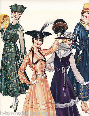 WOMEN IN FINE DRESSES & EVENING GOWN VINTAGE 1920s GRAPHIC ART FASHION AD PRINT - K-townConsignments