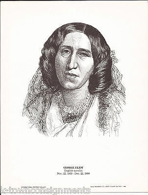 George Eliot English Novelist Vintage Portrait Gallery Poster Sketch Print - K-townConsignments
