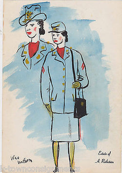 WAC WOMAN IN UNIFORM WWII ILLUSTRATOR A. ROTHSTEIN VINTAGE PENCIL DRAWING - K-townConsignments