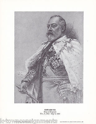 Edward VII King of England Vintage Portrait Gallery Poster Print - K-townConsignments