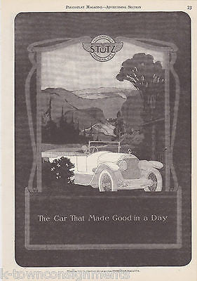 STUTZ INDIANAPOLIS AUTOMOBILE CARS VINTAGE 1920s GRAPHIC ADVERTISING PRINT - K-townConsignments