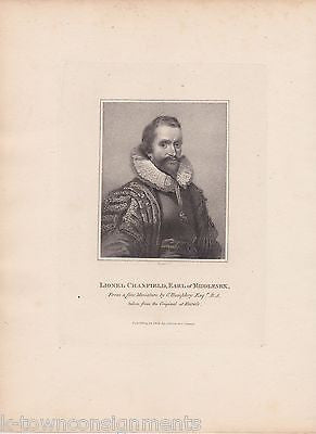 LIONEL CRANFIELD EARL OF MIDDLESEX ENGLAND ANTIQUE PORTRAIT ENGRAVING PRINT 1806 - K-townConsignments