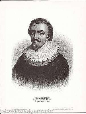 George Calvert English Colonist Vintage Portrait Gallery Poster Sketch Print - K-townConsignments