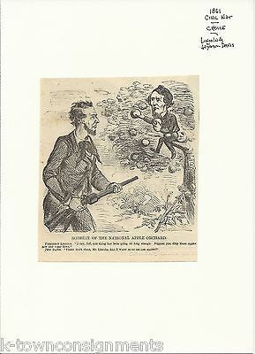 Abe Lincoln Jefferson Davis Humorous Civil War Political Cartoon