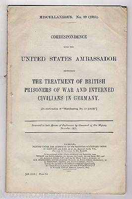 WWI BRITISH PRISONERS OF WAR IN GERMANY & US AMBASSADOR ANTIQUE POLITICAL BOOK - K-townConsignments
